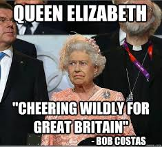 Bob Costas Meme - queen elizabeth cheering wildly for great britain bob costas