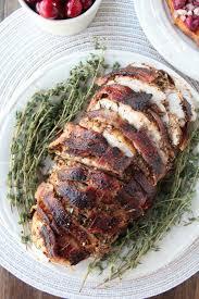 garlic herb bacon wrapped turkey breast thanksgiving turkey