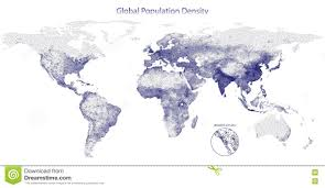 Population Density Map Of The World by Stippled Vector Map Of Global Population Density Stock Vector