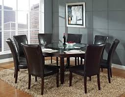 glass round dining table for 6