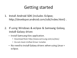 developer android sdk index html intro to android development getting started 1 install android