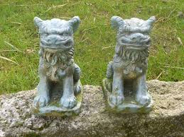 pair of vintage cast foo garden ornaments gate post