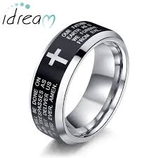 tungsten wedding ring holy bible and cross engraved tungsten wedding bands beveled edge