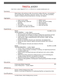 exles of current resumes 2 welding resumes exles sles resume entry level welder