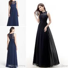 long dark navy blue bridesmaids dresses scoop lace chiffon floor