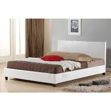 queen size pu leather upholstered bed frame white buy queen bed