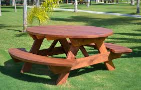 Wooden Bench And Table Oval Picnic Table Custom Oval Shaped Wood Picnic Table