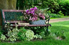 flower bench peaceful tranquil scenic spring scene relaxing