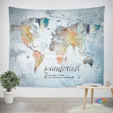 World Map Home Decor Plain Design World Map Tapestry Wall Hanging Marvellous Wanderlust