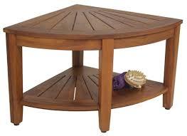 Teak Side Table 22 Wide Corner Teak Side Table With Shelf