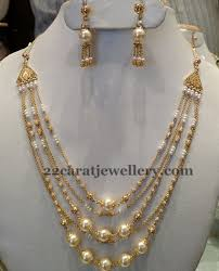 5 rows pearl necklace 25 grams jewellery designs pearl
