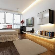 sleek wall shelving unit for modern bedroom ideas with led strip