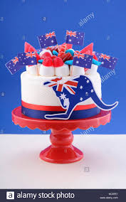 happy australia day celebration cake with flags marshmallow and