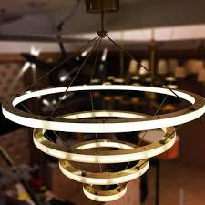 Circle Chandelier Modern Hanging Gold Big Deco Copper Brass Circle Led Ring