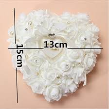 wedding ring holder white heart shaped floral wedding ring pillow with ring holder box