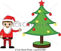 eps vectors of santa presenting christmas tree drawing art of