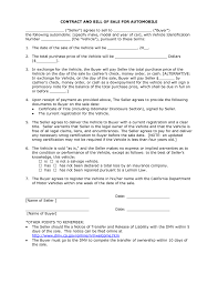 Sample Of Car Bill Of Sale by Contract For Selling A Car Thebridgesummit Co