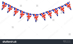 Banners Flags Pennants Great Britain British Flag Pennants Buntings Stock Photo 105745205