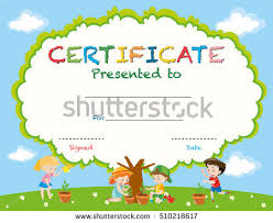 certificate template kids planting trees illustration stock vector