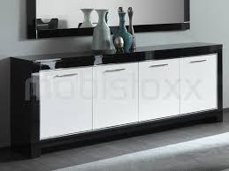 Buffet bahut MADONNA 4 portes noir laque blanc laque chez Mobistoxx