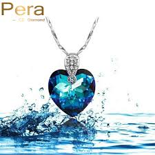 heart stone necklace pendants images Pera cz sparkling white gold color royal blue crystal stone heart jpg