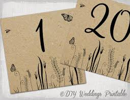 rustic table numbers template