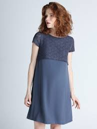 nursing dress maternity and nursing dress with lace detailing blue paula