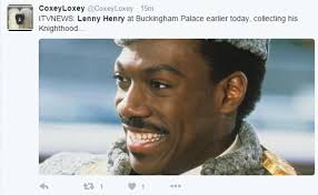 Henry Meme - itv news report on lenny henry being knighted uses ainsley