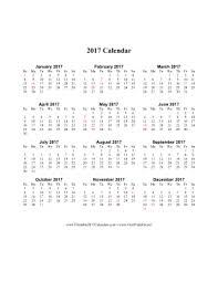 2017 calendar on one page with holidays blank calendar design 2017