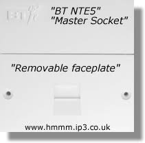 nte5 bt master socket remove lower faceplate to reveal test