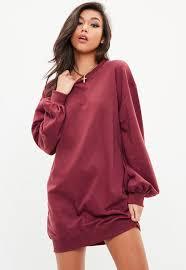 maroon sweater dress burgundy balloon sleeve sweater dress missguided
