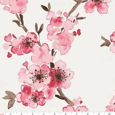 pink cherry blossom fabric by the yard pink fabric carousel