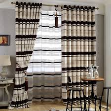 Thick Black Curtains Thick Chenille Brown Beige Room Darkening Striped Curtains