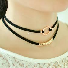 black beaded collar necklace images 2018 women black suede choker double layer necklace rope chain jpg