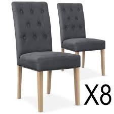 chaise capitonn e grise lot de 8 chaises capitonnées gaya tissu gris achat vente chaise