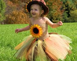 Sunflower Halloween Costume Scarecrow Tutu Dress Burlap Hat Sunflowers