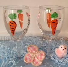 painted easter bunny wine glasses personalized for free