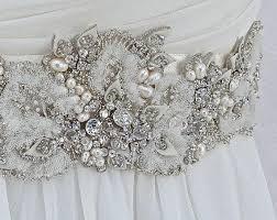 beaded bridal sash wedding sash in ivory with crystals genuine