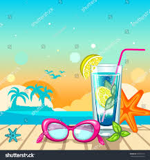 Summer Holiday Background Sunglasses Cocktail Island Stock Vector