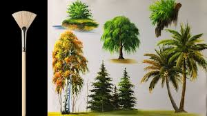 how to paint trees with fan brush acrylic lesson