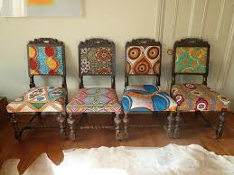 Fabric Covered Dining Room Chairs African Chair Frumpy Chairs Get A Tribal Fabric Makeover