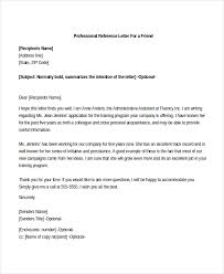 professional reference list professional reference letter for