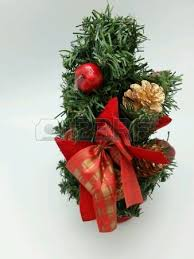 tree up with cherry ornaments stock photo