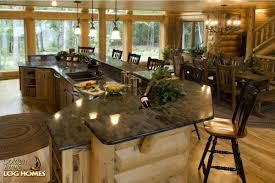 golden eagle log and timber homes log home cabin pictures kitchen dining area view 2