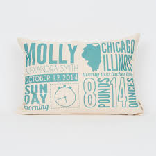 Gifts For New Moms by Birth Announcement Personalized Pillow Finch U0026 Cotter
