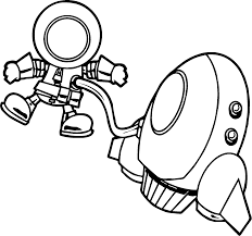 astronaut and vehicle in space fly coloring page wecoloringpage