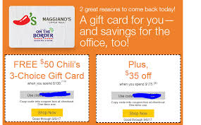 chili gift card ymmv quill free 50 chili s maggiano s on the border gift