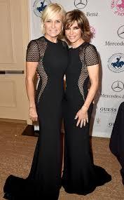 hair style from housewives beverly hills rhobh stars lisa rinna yolanda foster wear exact same dress
