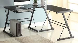 Glass Desk Office Home 3 Sedalia Glass Office Desk Black