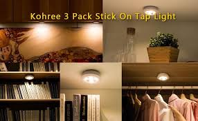 battery operated stick on lights 3 pack battery powered closet lights touch activated kohree stick